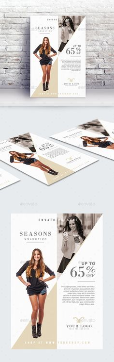 Buy Fashion Sale Flyer Template by byNAC on GraphicRiver. Features: - Easy editable text - CMYK @ 300 DPI – Print-ready - Size: + bleed - Free Fonts Used - Color variation. Print Design, Logo Design, Graphic Design, Vintage Wedding Jewelry, Free Flyer Templates, Fashion Templates, Professional Image, Flyer Layout, Sale Flyer