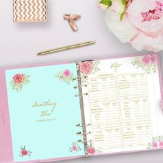 Printable Wedding Planner, Wedding Planner Printable Use these printable wedding planner pages in your DIY wedding binder or wedding planning book! These planner printables include a wedding checklist, a comprehensive timeline, wedding budget tracker, ven