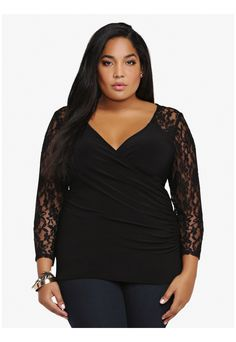 de01f7acd60 Look lovely in lace wearing this black plus size long-sleeve top. #tops