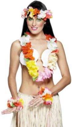 Multicolour Hawaiian Lei Hibiscus Flower Tiki Hula Fancy Dress Garland Multipack