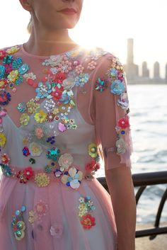 Embroidered flower detail dress, colorful style inspiration // Atlantic-Pacific