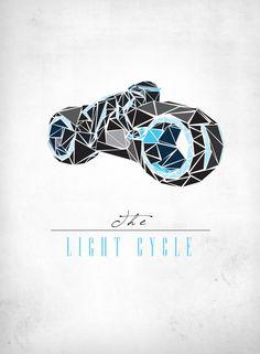 Tron Light Cycle | Illustrator: Josh Ln - http://society6.com/JoshLn/prints?tag=illustration