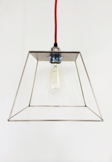 Wilde Cage light has gained even more popularity since being selected to be shown at 'Weathering'  a show of Irish Design @ London Design Festival in September, and further shows in Beijing and Maison et Objet Paris this simple light has caught the publics imagination. It comes with the Squirrel cage lamp and is 25 lx25w c x 20 h cms. Packed is 1 with 1.2 metres of red cord. 220v  x40w with E27 lamp. See our new contract large and ex large format sizes below available to order.