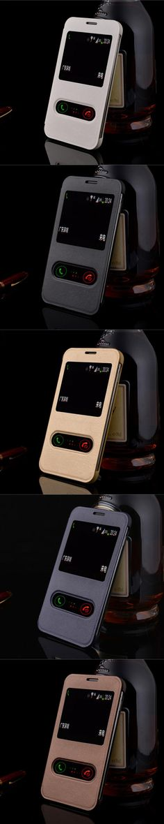 Luxury PU Leather Case for Samsung Galaxy Note N7000 GT-N7000 I9220 Double View Windows Phone Cover Shell Gold Black Brown