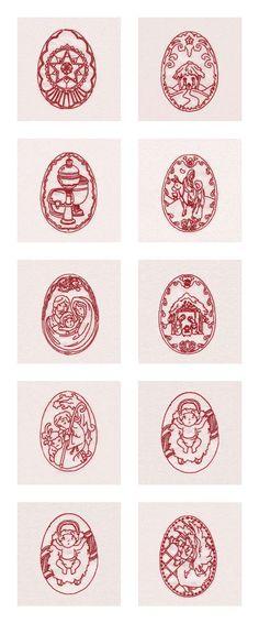 Embroidery Machine Designs - Decorative Nativity Ovals Set