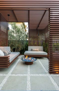seating blending with siding + great design for privacy
