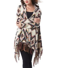 Simply Couture Beige Geometric Fringe Fuzzy Sidetail Cardigan | zulily