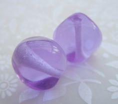 Dark Lavender Purple Nugget Lampwork Beads Glass by shineon2, £3.00