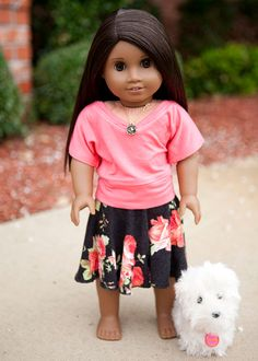 American Girl Doll midi circle skirt - black floral on Etsy, $10.00