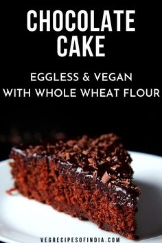 Want a healthy cake option this year? Try this egg free and vegan chocolate cake recipe. This cake comes out moist and can be made without an oven, such as with a microwave or pressure cooker. This chocolate cake recipe is vegan. Eggless Desserts, Eggless Recipes, Eggless Baking, Healthy Cake Recipes, Vegan Desserts, Baking Recipes, Snack Recipes, Vegan Baking, Vegan Recipes