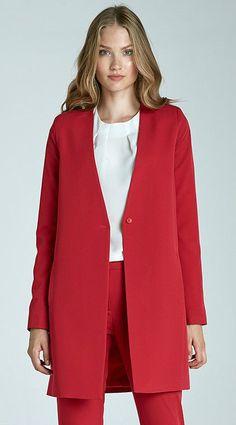 veste rouge longue femme mode z15 nife 34 36 38 40 42 - Veste Colore Femme