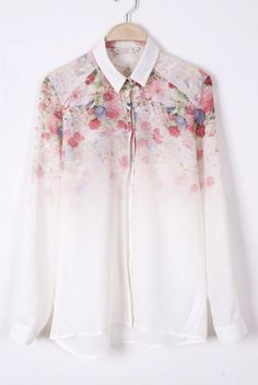 White Long Sleeve Floral Chiffon Blouse