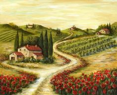 Tuscan Road with Poppies, by Marilyn Dunlap
