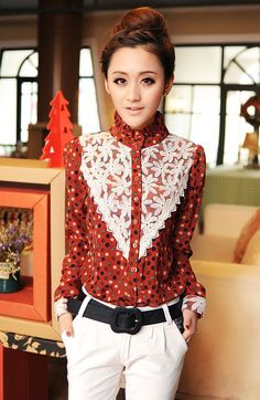 Retro Polka Dotted Pattern Asian Trendy Shirt with Floral Lace Decorative 1