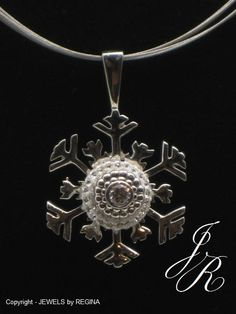 Snowflake Pendant  - Sterling Silver - Interchangeable Bead Jewelry -  ReginasDreamCreation on Etsy, $155.00