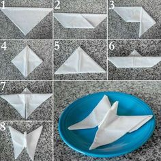 50 Attention-Grabbing Napkin Folding Ideas that You Cannot Overlook - - For the forthcoming festival season, learn how to fold napkins in unique shapes like hats, shirt, flowers etc. Explore creative napkin folding ideas here. Fancy Napkin Folding, Folding Napkins, Dining Etiquette, Butterfly Wedding, Origami Butterfly, Cloth Napkins, Dinner Table, Napkin Rings, Table Settings