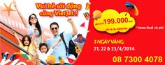 """Vietjet khuyến mãi chương trình """"Vui Hè Sôi Động Cùng Vietjet"""" giá vé chỉ từ 199.000VNĐ, áp dụng cho tất cả các chặng bay nội địa và quốc tế của Vietjet từ ngày 01/05/2014(trừ các ngày lễ, tết) số lượng có hạn, đặt ngay: 08 7300 4078"""
