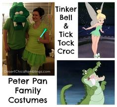 Cute family costumes --Tinker Bell And Tic Tock Croc, etc.