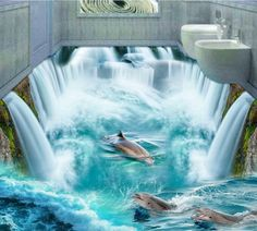 3D Custom Wall Sticker dophins in huge waterall flooring Painting Photo Wallpaper New premium hot