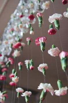 use fake flowers, string lights on top instead of crystals