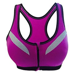 f2eb9b1e4f6a1 KENTONG HILL Women s High Support Push Up Zip Front Close Padded Sports Gym  Fitness Yoga Bra (S
