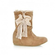 Sweet Bow Embellished PU Leather Inner Heel Women's Short Boots, YELLOW, 39 in Boots   DressLily.com