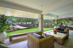 Poipu house rental - DOWNSTAIRS COURTYARD hammock/lounge/dining, perfect privacy for family & kids