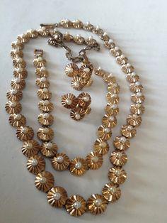 Trifari Slim Pearl Necklace Bracelet Earrings Parure – 1960s Jewelry by medusacurls on Etsy https://www.etsy.com/listing/267651973/trifari-slim-pearl-necklace-bracelet