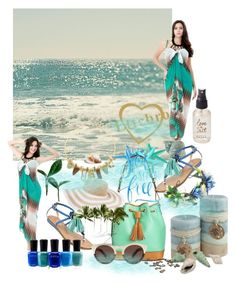 """LTTCBRO"" by merima-musanovic ❤ liked on Polyvore featuring Lizzie Fortunato, GUESS, Dooney & Bourke, Vera Bradley, Illesteva, Olivine, Zoya, swimwear, beachwear and coverups"