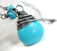 Turquoise Necklace, Sterling Silver Aqua December Birthstone Pendant | Gheet - Jewelry on ArtFire