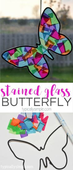 A fun spring craft to make with the kids! Using tissue paper and black construction paper, this butterfly looks like it's made from stained glass. (toddler arts and crafts construction paper)