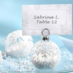 Snow Flurry Flocked Glass Ornament Place Card/Photo Holder (Set of down like delicate bursts of white, winter's unique gift provides a lovely motif for gifts of the season. The Snow Flurry Holiday Ornament Place Card and Photo Holder Christmas Wedding Favors, Winter Wedding Centerpieces, Winter Wedding Favors, Winter Weddings, Christmas Parties, Wedding Ornament, Snowflake Wedding, White Snowflake, Wedding Gifts