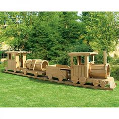 Amish Made 25 ft Long Wooden 4 Piece #Train #Playground Set