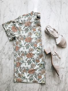 spring personal style inspiration. pale lavender suede sandals and floral print tee. @urbanoutfitters #uoonyou #ad