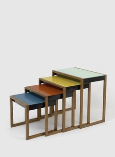 Josef Albers Stacking tables ca.1927 ash veneer, black lacquer, painted glass