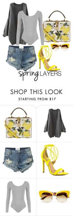 """""""I'll take D&G  Lemons for 500 please"""" by xyz-affairs ❤ liked on Polyvore featuring Dolce&Gabbana, One Teaspoon, Liliana, WearAll, cutecardigan and springlayers"""