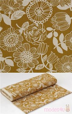 """strong yellow-brown oxford cotton fabric with circle-shaped flowers, stripey petals, dotted centres, leaves and berries, Material: 100% cotton, Fabric Width: 112cm (44"""") #Cotton #Oxford #Flower #Leaf #Plants #JapaneseFabrics"""