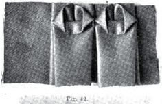 1895.  The Art of Dressmaking.  Figure 42 shows a double box-plaited ruffle, with the upper edge tacked down as illustrated.  Length of material required, two and a half times around the skirt, or two and a half yards to make one yard of trimming.