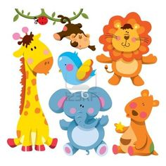 Cute Animals Collection lion elephant bird ladybug monkey giraffe elephant