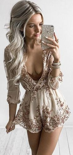#summer #kirstyfleming #outfits | Bronze Embroidery Embellished Romper