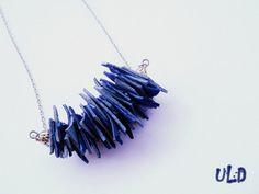 Collier de déclaration bleu collier cuir par UniqueLeatherDesign