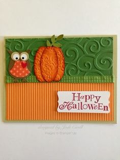 handmade Halloween card from something about stamping ... orange and olive ... luv the embossed punch art pumpkin ... owl punch owl ... geat card ... Stampin' Up!