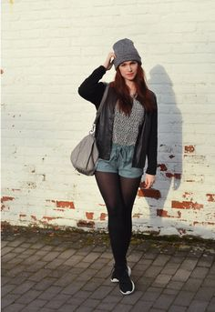 Sofie Rome - Think Twice Bomber Jacket, Zara Suede Shorts, Nike Roshe Runs - Roshe runs