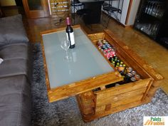 mesa de centro elevable, muebles con palets