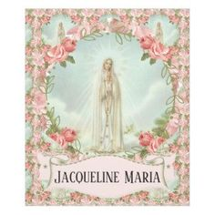 Our Lady of Fatima Virgin Mary w/Pink Roses Fleece Blanket  #catholic #catholicgifts #blankets #traditionalcatholic