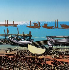 Beached Boats in the Sun Rob Barnes, Artist printer, Norfolk, linocut. I loke how the background boats are brown Linocut Prints, Art Prints, Block Prints, Posca Art, Boat Art, Linoprint, National Art, Naive Art, Wood Engraving