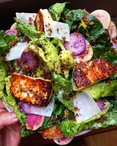 Little Gem Caesar Salad with Crispy Halloumi Croutons recipe by Sara Tane Bean Chips, Halloumi Salad, Crouton Recipes, Classic Caesar Salad, Food Is Fuel, Meal Planner, Summer Recipes, Love Food, Salad Recipes