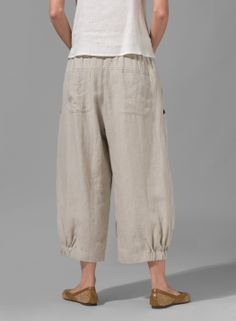 Linen Crumple Effect Harem Pants - Hosen Linen Dresses, Cotton Dresses, Boho Fashion, Fashion Outfits, Loose Pants, Pants Pattern, Linen Pants, Fashion Over 50, Sewing Clothes