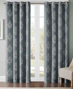 "Madison Park Montclair Texture Damask-Print 50"" x 95"" Window Panel  - Gray"