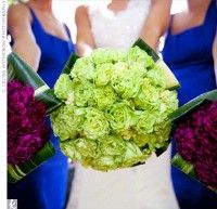 green garden roses,green hydrangeas, hosta leaves, violet magenta carnations...love these two colors!